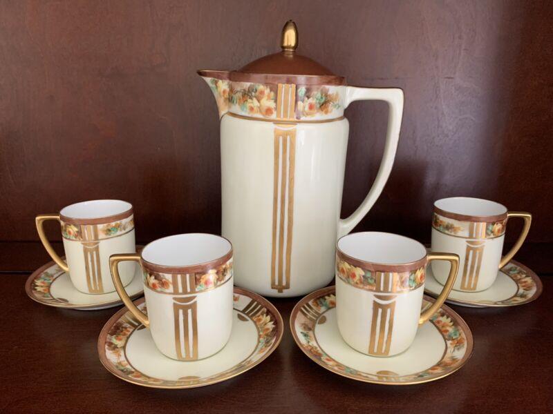 MZ Austria Translucent Porcelain Art Deco Coffee/Chocolate Pot, 4 Cups & Saucers