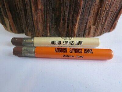 Lot of 2 Vintage Advertising Bullet Pencils Saving Bank Auburn, Iowa KCA3