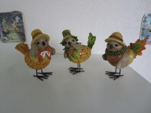 Thanksgiving/Fall Glitter Birds Set of 3