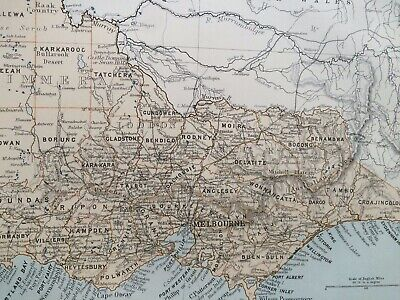 1875 Victoria Original Antique Map Australia Melbourne