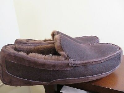 UGG AUSTRALIA ASCOT WOOL BROWN COLOR FULLY LINED SLIPPERS SIZE 17 MENS  US