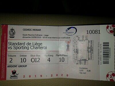 Ticket footbal Standard - RSC Charleroi  29/09/2019  Championnat Belgique