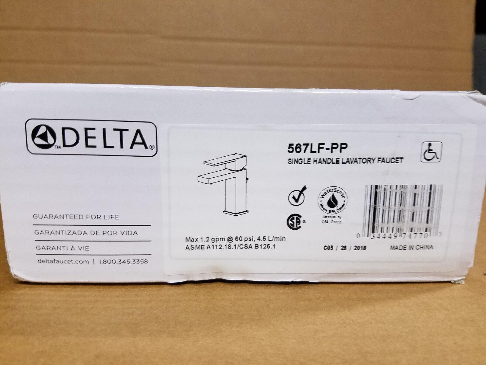Delta 567LF-PP Modern Single Hole, Single Handle Bathroom Fa