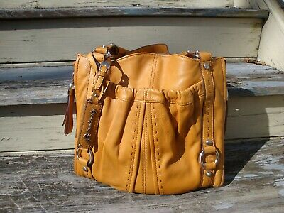 B MAKOWSKY Mustard Yellow Leather Handbag Boho Hobo Large Slouchy Tote Satchel