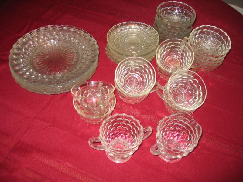 Vintage Set of Anchor Hocking Bubble Glass 34 Pieces