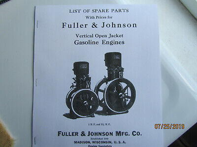 1925 Fuller Johnson Vertical Hopper Cooled Gas Engine Parts Manual 1- 2 12hp