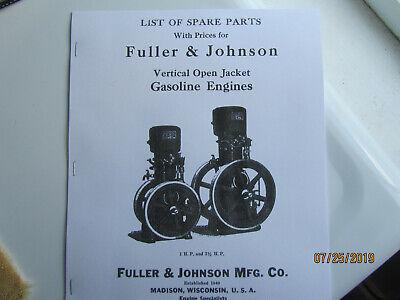 1925 Fuller Johnson Vertical Hopper Cooled Gas Engine Parts Manual 1- 2 12hp