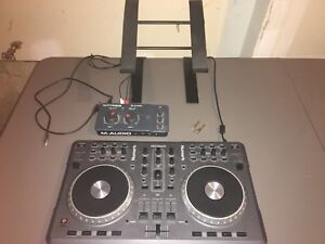 Mixtrack DJ Mixing Board + M-AUDIO Interface + Laptop Stand