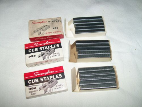 Lot of 3 Vintage Swingline Cub Staples Almost Full Boxes