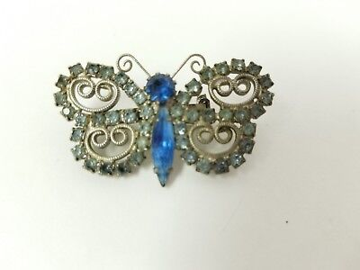 VINTAGE RHINESTONE BUTTERFLY PIN BROOCH SHADES OF BLUE DESIGNER COSTUME JEWELS](Costume Of Butterfly)