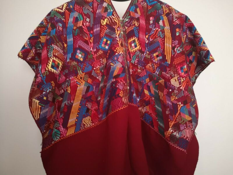 Guatemalan Huipil Bird and Flower Embroidery Poncho Top Blouse Wall Decor