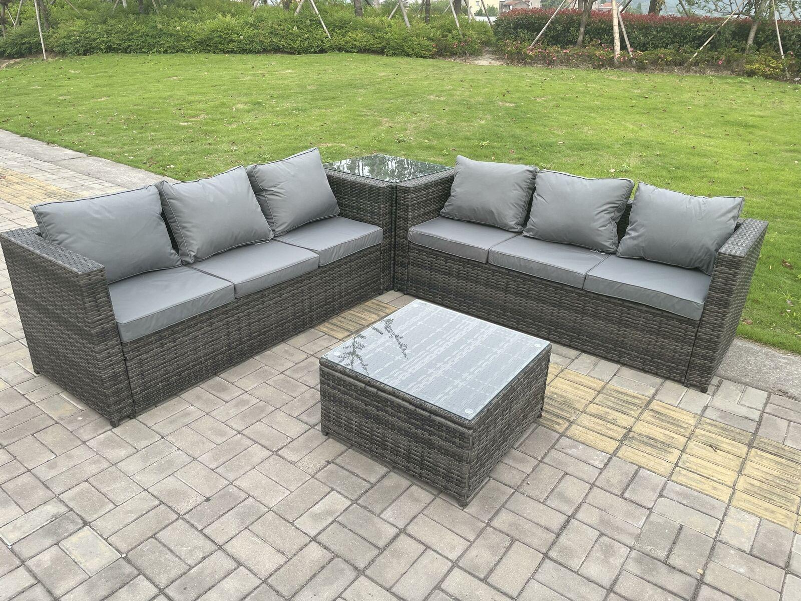 Garden Furniture - Wicker Rattan Garden Furniture Sofa Sets Outdoor Patio 2 Coffee Table