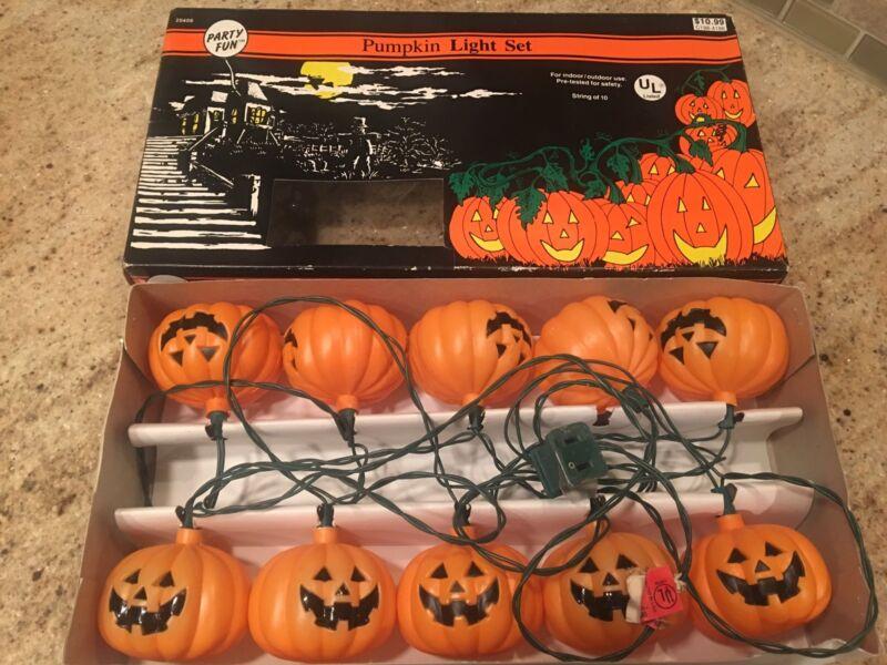 Vintage 1992 Party Fun String of 10 Halloween Pumpkin Light Set -Tested & Works
