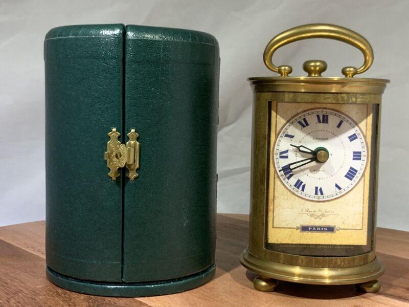 VINTAGE BERKELEY TIME WORKS PARIS CARRIAGE BRASS DESK CLOCK LEATHER TRAVEL CASE