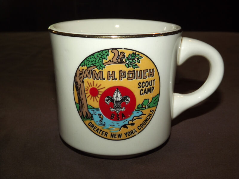 VINTAGE BSA BOY SCOUTS COFFEE  MUG WM H POUCH NEW YORK COUNCILS