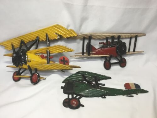 Set of 3 Homco Metal Airplane Wall Hangings - 1975 - Made in U.S.A.