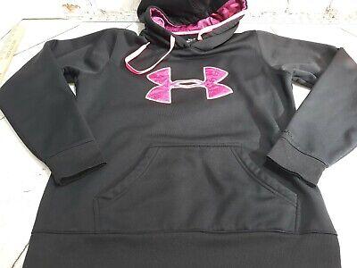 Womens Under Armour Storm  Hoodie Hooded Sweatshirt Size Medium Black pink