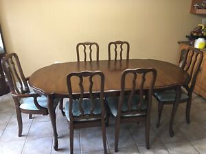Solid walnut dining room set in mint condition