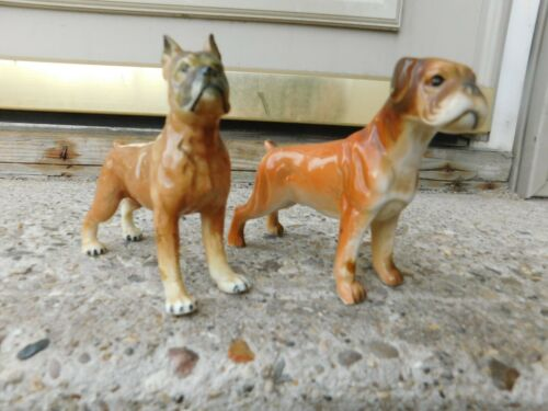 LOT OF 2 VINTAGE STANDING BOXER DOG CERAMIC FIGURINES