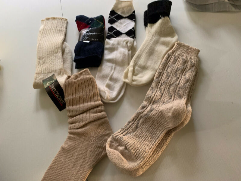 Vintage 80s Socks Lot Slouch Argyle NWT