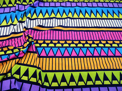 Discount Fabric Printed Spandex 4 way Stretch Aztec Blue Pink Orange Yellow - Costumes Discount