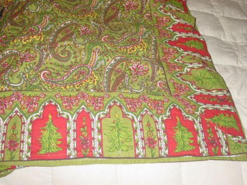APRIL CORNELL HOLIDAY CHRISTMAS TREE HOLLY 62X 100 RECTANGULAR TABLECLOTH COTTON