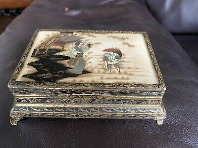 """Antique Handpainted """"Chinese Rice Pickers """" Jewellery Box - Brass & Enamel Style"""