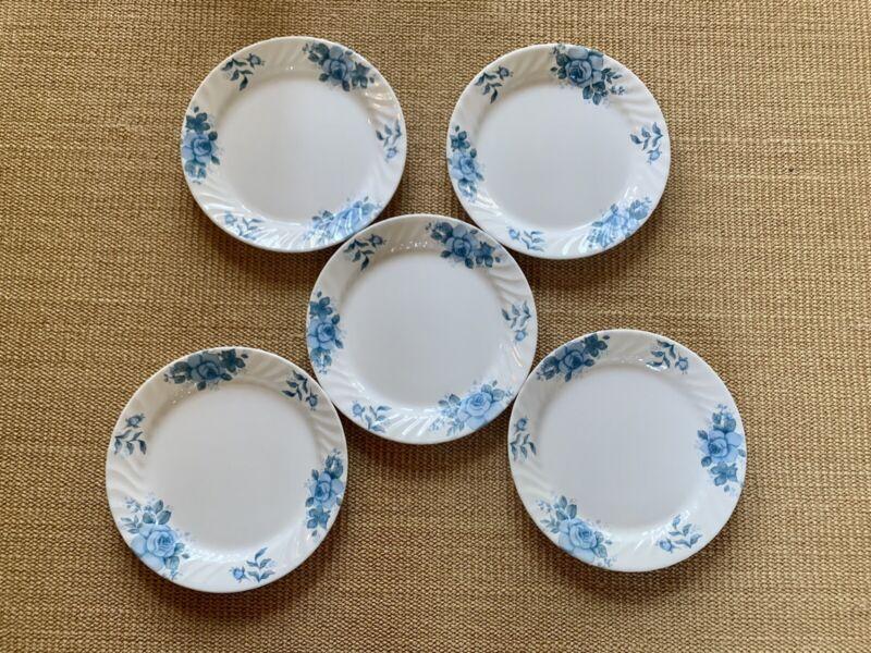 Vintage Set of 5 Corelle Blue Velvet Swirl Dinner Plates