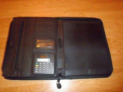 Leather Padfolio Zip Around Organizer With Letter Notepad Holder Calculator