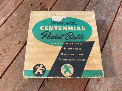 Antique Vintage Brunswick Centennial Pocket Billiards Balls Pool w/ original box