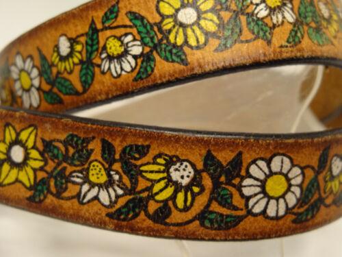 Vtg 70s Hippie Skinny Tooled Flowers Daisies Painted Leather Zurrick Belt-34