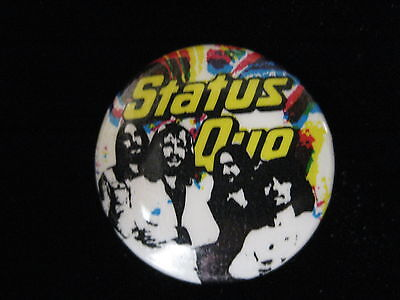 Status Quo-Group Shot-Multi-Colored-Small-Button-80's Vintage-Rare