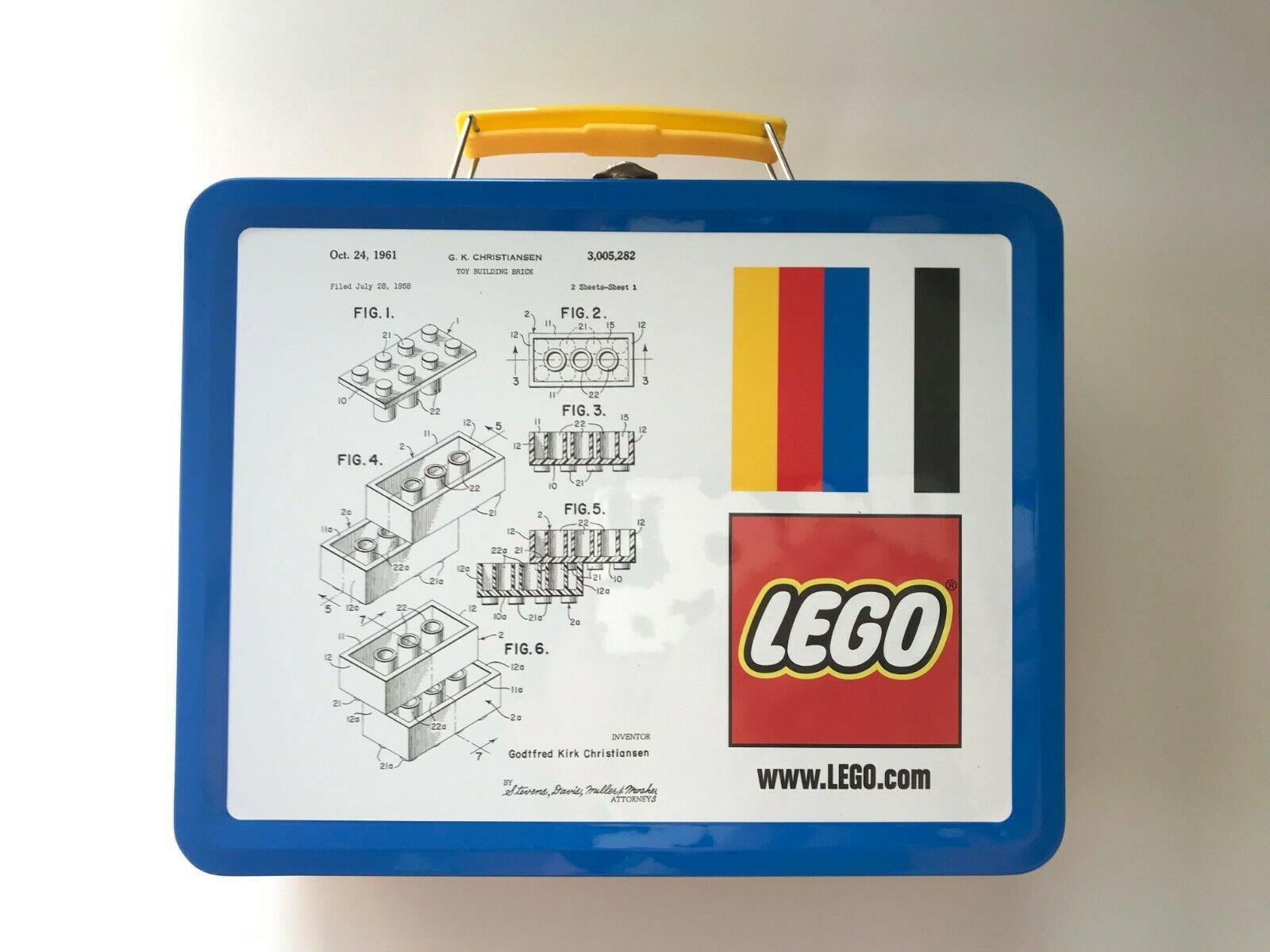 New LEGO Metal Tin Lunchbox Original Lego Brick Patent Sketc