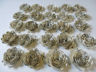 """Scalloped Sheet Music Roses, 24 Paper Flowers Musical Party Decorations, 1.5"""""""