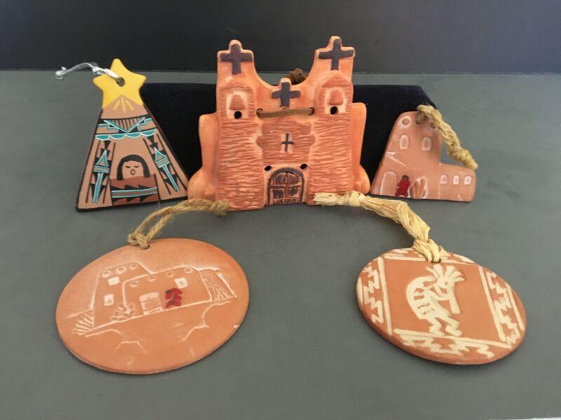Set of 5 Southwestern Ceramic Christmas Ornaments