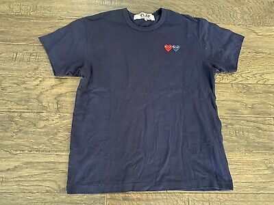 NEW COMME DES GARÇONS Cotton Jersey Crewneck T-Shirt PLAY Men's Large Navy