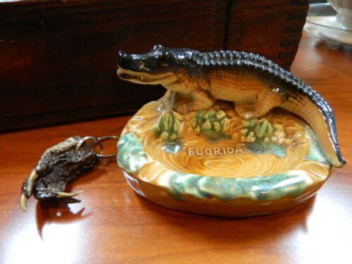 Vintage Alligator Florida Souvenir Ashtray and REAL Alligator Foot Keychain