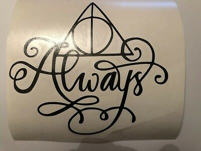 harry potter deathly hallows always swirl vinyl decal sticker laptop car phone