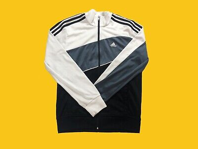 Vintage Adidas White & Grey Colourblocking Three Striped Tracksuit Jacket Size S