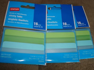 Staples Sticky Tabs 16 Pack 25318 Lot Of 3