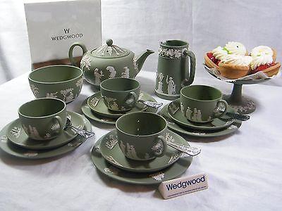 "Magnificent Wedgwood Green Jasper Ware"" 22 piece Afternoon ""Tea Set "" Beautiful."