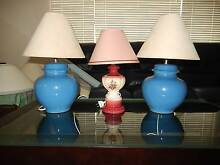 2  CERAMIC TABLE  LAMPS ( blue) H350 ,dia 250 +1 pink  ceramic Brisbane North West Preview