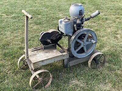 Vintage Monitor Hit And Miss Engine With Gear Reduction On Cart