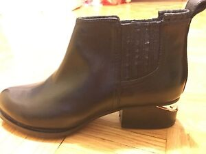 New leather Ankle boots with rose gold metal plates