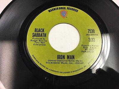 "Black Sabbath Iron Man / Electric Funeral 7"" 45 rpm Warner Bros green label VG+"