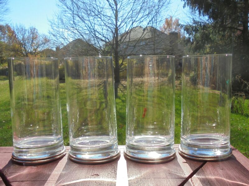 """4 Arte Italica Tuscan Glass & Pewter Tumblers Drinking Glasses 6 1/4"""" Excellent"""