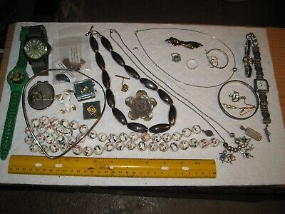 Vintage jewelry lot,sterling necklaces,earrings,ring,watches,frog pin,porcelain