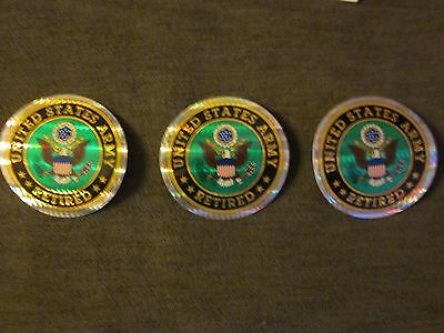 """Three """"United Stated Army Retired"""" Stickers Durable 3"""" Mylar"""