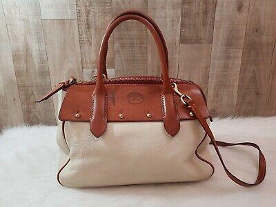 Dooney & Bourke Cream Leather Saddel Brown Satchel Handbag