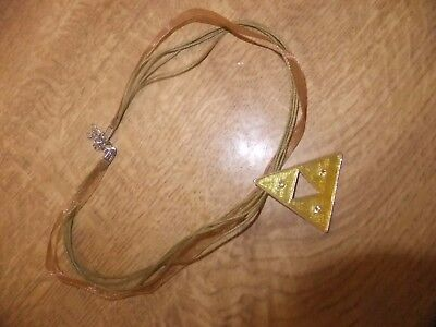 TRIANGULAR ENAMEL PENDANT SET WITH PASTE ON RIBBON AND THREAD CHAIN (Set On Pendant Medal)